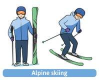 Ένας νεαρός άνδρας με το σκι βουνών, που στέκεται και στην κίνηση Alpine skiing, ακραίος χειμερινός αθλητισμός, ενεργός αναψυχή δ Στοκ Εικόνες