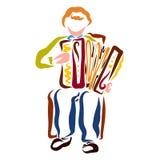Ένας νεαρός άνδρας παίζει το ακκορντέον, φολκλορική μουσική διανυσματική απεικόνιση