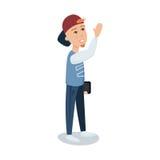 Ένας νεαρός άνδρας σε μια ΚΑΠ που στέκεται με τη διανυσματική απεικόνιση χαρακτήρα κινουμένων σχεδίων ταμπλετών Στοκ εικόνα με δικαίωμα ελεύθερης χρήσης
