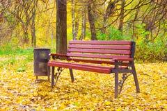 Ένας ξύλινος πάγκος σε ένα πάρκο φθινοπώρου Στοκ Φωτογραφίες