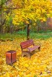 Ένας ξύλινος πάγκος σε ένα πάρκο φθινοπώρου Στοκ φωτογραφία με δικαίωμα ελεύθερης χρήσης