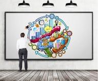 Ένας οπισθοσκόπος του επιχειρηματία που επισύρει την προσοχή ένα ζωηρόχρωμο διάγραμμα ροής ανάπτυξης επιχείρησης στο συμπαγή τοίχ Στοκ φωτογραφίες με δικαίωμα ελεύθερης χρήσης