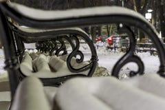Ένας πάγκος στο πάρκο που καλύπτεται με το χιόνι τη νύχτα Στοκ φωτογραφία με δικαίωμα ελεύθερης χρήσης