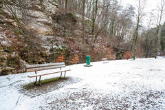 Ένας πάγκος στο χιόνι Στοκ φωτογραφία με δικαίωμα ελεύθερης χρήσης