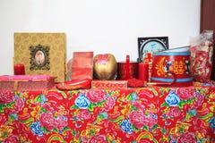 Ένας πίνακας της γαμήλιας ουσίας παραδοσιακού κινέζικου στοκ εικόνες