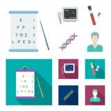 Ένας πίνακας των δοκιμών οράματος, μια εξέταση αίματος, ένας κώδικας DNA, μια συσκευή ECG Καθορισμένα εικονίδια συλλογής ιατρικής Στοκ φωτογραφίες με δικαίωμα ελεύθερης χρήσης