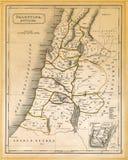 Ο αρχαίος χάρτης της Παλαιστίνης τύπωσε 1845 Στοκ Φωτογραφία