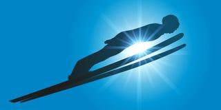 Ένας πηδώντας πρωτοπόρος σκι απογειώνεται στην έξοδο του άλματος σκι ελεύθερη απεικόνιση δικαιώματος