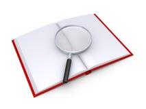 Ένας πιό magnifier είναι πάνω από ένα ανοιγμένο βιβλίο απεικόνιση αποθεμάτων