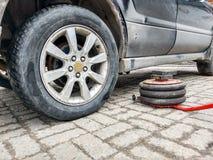 Ένας πνευματικός γρύλος βρίσκεται σε ένα πάτωμα κεραμιδιών δίπλα σε ένα σκονισμένο αυτοκίνητο σε ένα κατάστημα επισκευής αυτοκινή στοκ φωτογραφία