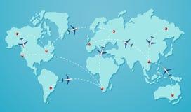 Ένας προορισμός στον παγκόσμιο χάρτη διανυσματική απεικόνιση
