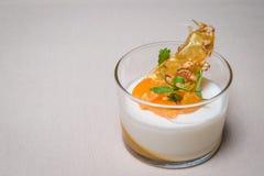 Ένας πυροβολισμός Tangerine γιαουρτιού σε ένα φλυτζάνι Στοκ φωτογραφίες με δικαίωμα ελεύθερης χρήσης