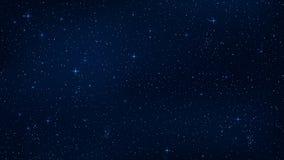 Ένας ρεαλιστικός έναστρος ουρανός με μια μπλε πυράκτωση Λάμποντας αστέρια στο σκοτεινό ουρανό Υπόβαθρο, ταπετσαρία για το πρόγραμ ελεύθερη απεικόνιση δικαιώματος