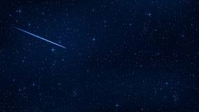 Ένας ρεαλιστικός έναστρος ουρανός με μια μπλε πυράκτωση Όμορφο αστέρι πυροβολισμού Ο μετεωρίτης πέφτει Λάμποντας αστέρια στο σκοτ απεικόνιση αποθεμάτων