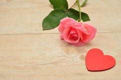 Ένας ρόδινος αυξήθηκε και μια κόκκινη καρδιά Στοκ Εικόνες