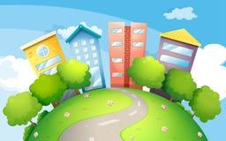 Ένας στενός δρόμος που πηγαίνει στα ψηλά κτίρια απεικόνιση αποθεμάτων