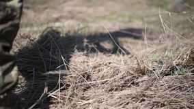 Ένας στρατιώτης σε μια πολεμική ανίχνευση βάζει ένα κράνος και μια κάλυψη καθαρά για να δημιουργήσει την κάλυψη με την ξηρά χλόη  απόθεμα βίντεο