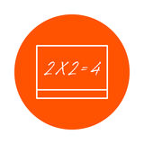 Ένας σχολικός πίνακας με μια επιγραφή - δύο φορές δύο είναι ίσος με τέσσερις, ένα κυκλικό εικονίδιο γραμμών, απλή αλλαγή χρώματος απεικόνιση αποθεμάτων