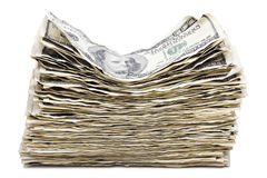 Απομονωμένος ζαρωμένος σωρός 100 US$ Bill Στοκ εικόνες με δικαίωμα ελεύθερης χρήσης