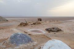Ένας σωρός του ζωηρόχρωμου άλατος στην ξηρά αλατισμένη λίμνη Chott EL Djerid, Τυνησία, Αφρική στοκ φωτογραφία με δικαίωμα ελεύθερης χρήσης