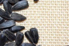 Ένας σωρός των σπόρων ηλίανθων στο φυσικό υπόβαθρο λινού cloe επάνω Στοκ Εικόνες