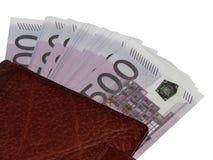 Ένας σωρός των χρημάτων 500 ευρο- πορτοφόλι Στοκ Φωτογραφίες