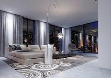 Ένας τεράστιος άσπρος καναπές γωνιών με ένα μορφωματικό σύστημα το βράδυ μέσα ελεύθερη απεικόνιση δικαιώματος
