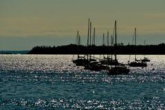 Ένας τομέας σκιαγραφημένα sailboats Στοκ Εικόνα