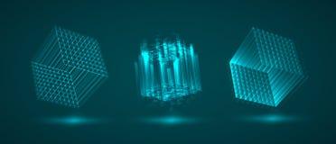 Ένας τρισδιάστατος κύβος των φωτεινών γραμμών Περίληψη απεικόνιση αποθεμάτων