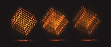 Ένας τρισδιάστατος κύβος των φωτεινών γραμμών διανυσματική απεικόνιση
