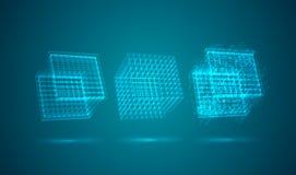 Ένας τρισδιάστατος κύβος των φωτεινών γραμμών απεικόνιση αποθεμάτων