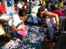 Ένας υγρός προμηθευτής αγοράς πωλεί ποικίλα φρέσκα θαλασσινά σε μια δημόσια αγορά Στοκ φωτογραφίες με δικαίωμα ελεύθερης χρήσης