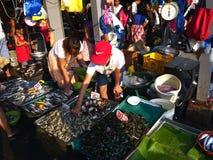 Ένας υγρός προμηθευτής αγοράς πωλεί ποικίλα φρέσκα θαλασσινά σε μια δημόσια αγορά Στοκ Φωτογραφία