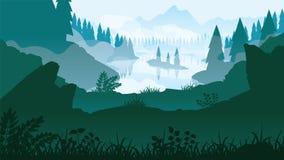 Ένας υψηλός - ποιοτικό υπόβαθρο του τοπίου με τον ποταμό, το δάσος και τα βουνά διανυσματική απεικόνιση