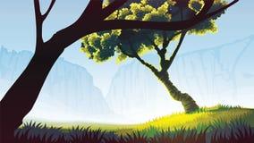 Ένας υψηλός - ποιοτικό υπόβαθρο του τοπίου με τον τομέα, τα δέντρα και τα βουνά διανυσματική απεικόνιση