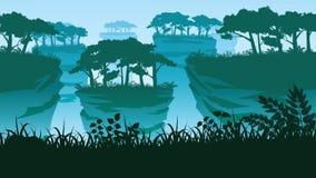 Ένας υψηλός - ποιοτικό υπόβαθρο του τοπίου με τους στυλοβάτες και το δάσος βράχου ελεύθερη απεικόνιση δικαιώματος