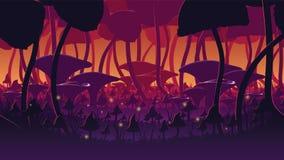Ένας υψηλός - ποιοτικό οριζόντιο άνευ ραφής υπόβαθρο του τοπίου με το βαθύ δάσος μανιταριών απεικόνιση αποθεμάτων