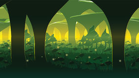 Ένας υψηλός - ποιοτικό οριζόντιο άνευ ραφής υπόβαθρο του τοπίου με το βαθύ δάσος μανιταριών ελεύθερη απεικόνιση δικαιώματος