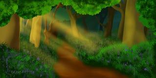 Ένας φανταστικός περίπατος στο δάσος διανυσματική απεικόνιση