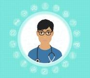 Ένας φιλικός γιατρός στα γυαλιά και ιατρική εσθήτα με τα ιατρικά εικονίδια Διανυσματική επίπεδη απεικόνιση σχεδίου διανυσματική απεικόνιση