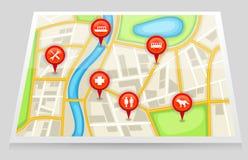 Ένας χάρτης πόλεων με τη σημαντική θέση στον κόκκινο δείκτη 2 απεικόνιση αποθεμάτων