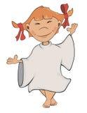 Ένας χαριτωμένος μικρός άγγελος Κινούμενα σχέδια κοριτσιών Στοκ Εικόνες