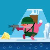 Ένας χιονάνθρωπος πυροβολεί ένα πυροβόλο όπλο και ρίχνει τις χιονιές Διανυσματικός προσροφητικός άνθρακας κινούμενων σχεδίων Στοκ φωτογραφία με δικαίωμα ελεύθερης χρήσης