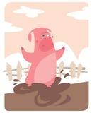 Χοίρος που στέκεται στη λάσπη Στοκ Εικόνες
