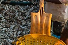 Ένας ψαράς με ένα φτυάρι προετοιμάζεται να ξεφορτώσει ένα αλιευτικό σκάφος Αλιεία της αποβάθρας στη νότια Ινδία Στοκ Εικόνα