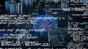 Ένας ψηφιακός εγκέφαλος, κώδικες προγράμματος, και ένα ψηφιακό κύκλωμα διανυσματική απεικόνιση