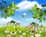 Ένας όμορφος κήπος και έντομα ελεύθερη απεικόνιση δικαιώματος
