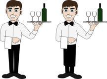 Ένας σερβιτόρος σε έναν δεσμό τόξων ελεύθερη απεικόνιση δικαιώματος