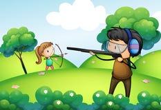 Ένας λόφος με ένα αγόρι και μια άσκηση κοριτσιών Στοκ φωτογραφία με δικαίωμα ελεύθερης χρήσης