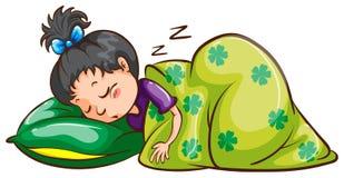Ένας ύπνος κοριτσιών πλήρως διανυσματική απεικόνιση